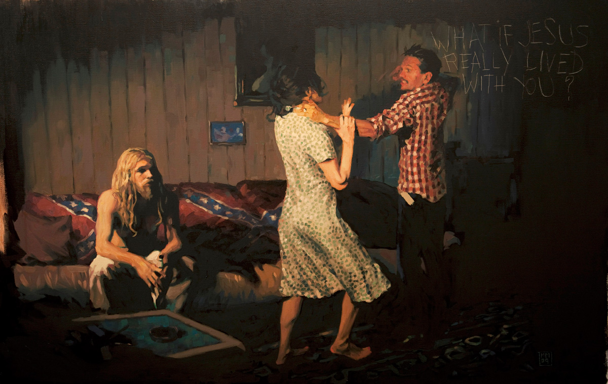 Doctor Ojiplatico. Mark Maggiori. Paintings. The Blessed event   What if Jesus really lived with us?