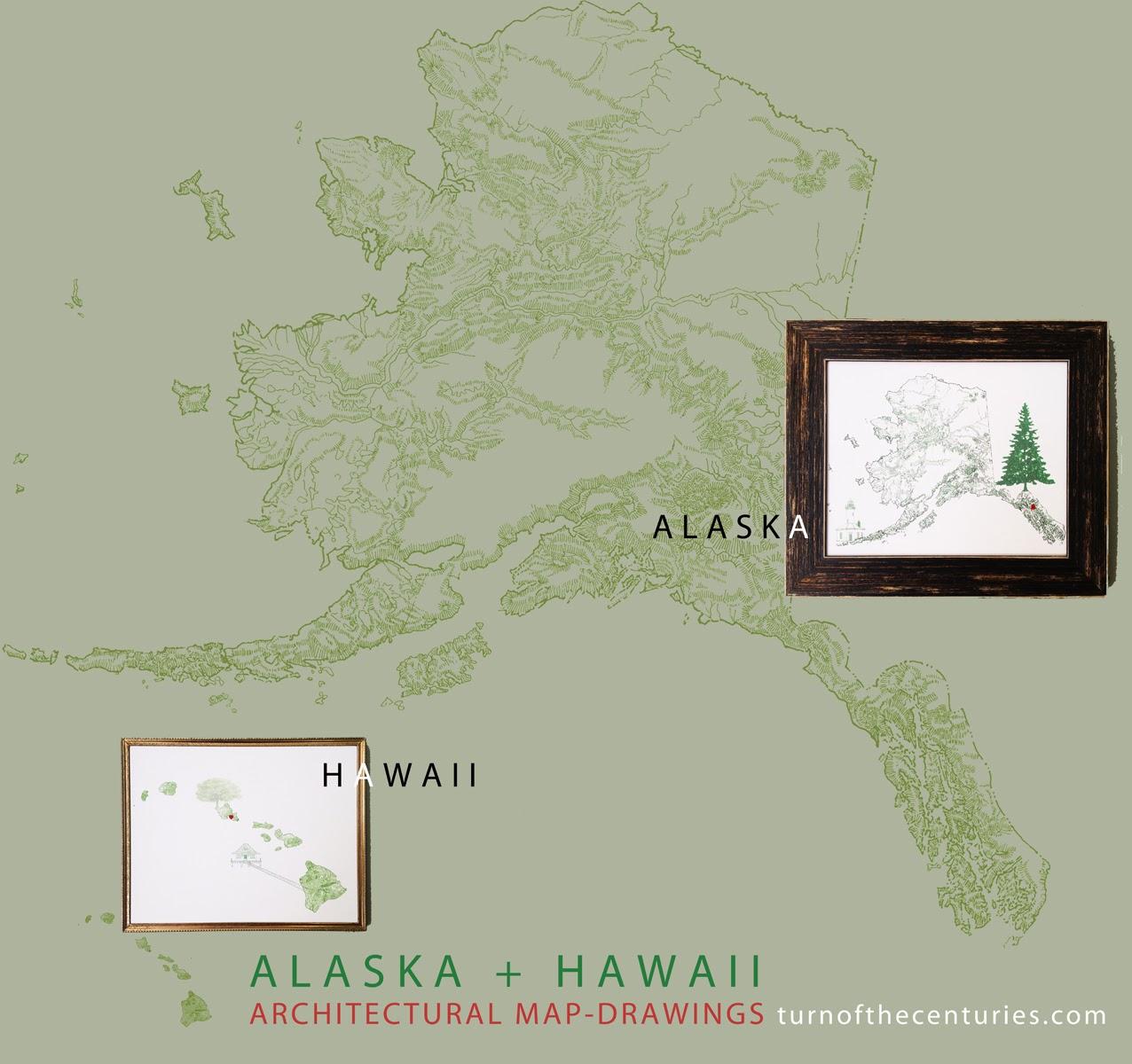 TurnoftheCenturies ALASKA  HAWAII USA MapDrawings