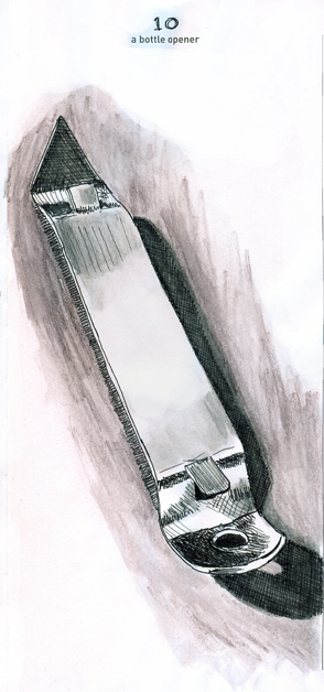 Pen and ink with watercolour bottle opener rendered by ©Ana Tirolese