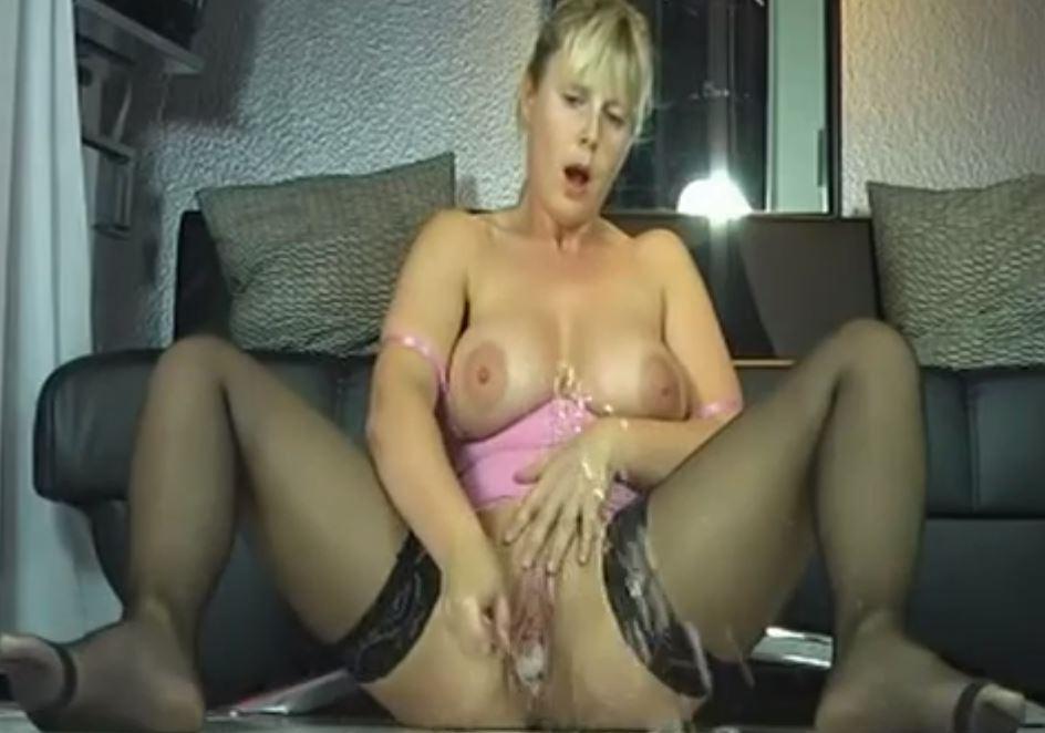 Blonde Milf Slut Squirts Like Crazy After Hot Masturbation