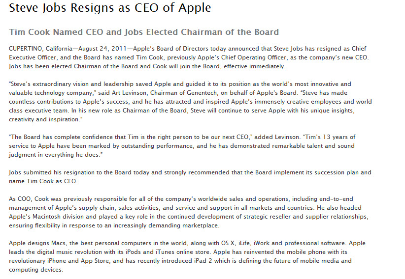 tim cook new apple inc ceo steve jobs resigns syconet geek