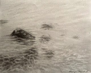 original charcoal sketching of rocks under the water by Manju Panchal