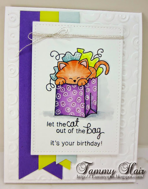Cat out of the Bag Birthday Card by Tammy Hair for Inky Paws Challenge #20 | Newton's Birthday Bash stamp set by Newton's Nook Deisgns