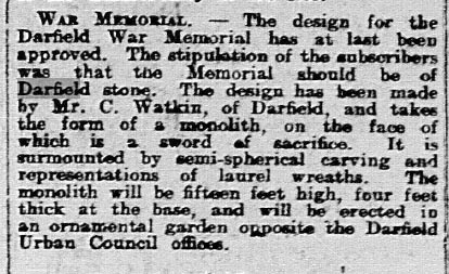 Newspaper cutting, just a dozen lines, stating that the design for the Darfield War Memorial had been approved.
