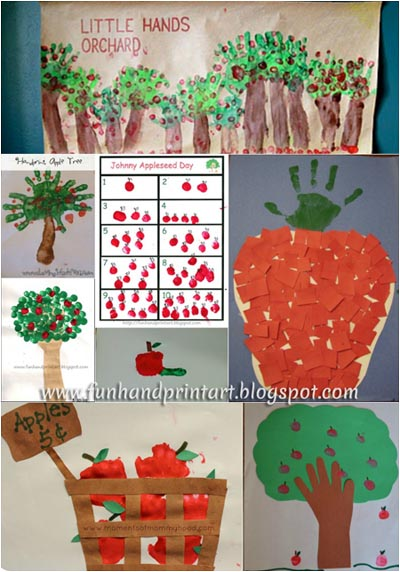 Handprint & Fingerprint Apple Crafts {Johnny Appleseed Day}