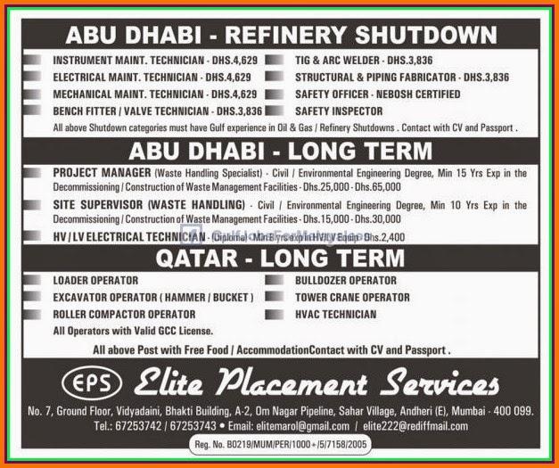 abu dhabi qatar refinery job vacancies gulf jobs for malayalees. Black Bedroom Furniture Sets. Home Design Ideas