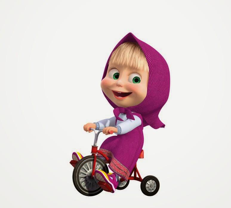 Gambar DP BBM Masha Bergerak Animasi Lucu Naik Sepeda