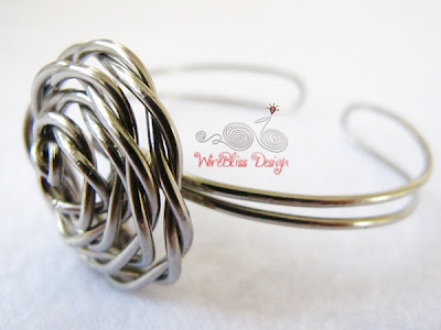 Wire Wrap Adjustable Rose Cuff by Wirebliss - wire only