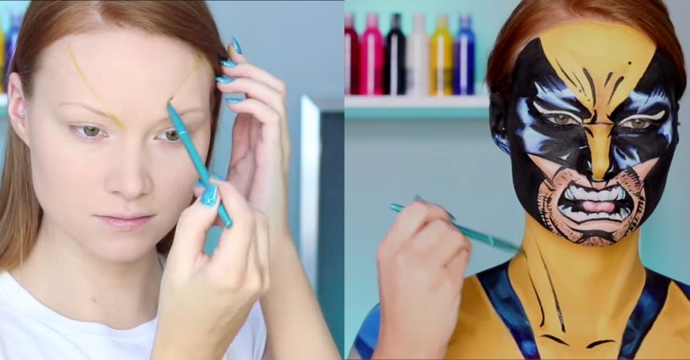 Prévia do vídeo que ensina a maquiagem do wolverine passo a passo.