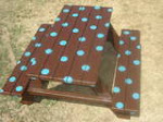 Teal polka dots picnic table $95