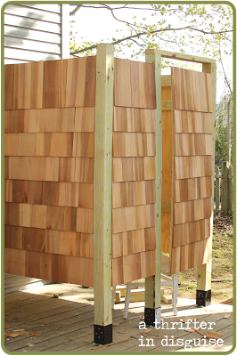 A thrifter in disguise outdoor shower enclosure for Building an outdoor bathroom