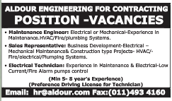 ALDOUR ENGINEERING FOR CONTRACTING POSITION VACANCIES AS GIVEN BELOW JOB IN KSA 19.03.2017 VISA NOT