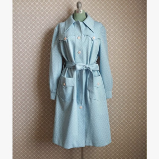Vintage blue Polka Dot Trench Coat