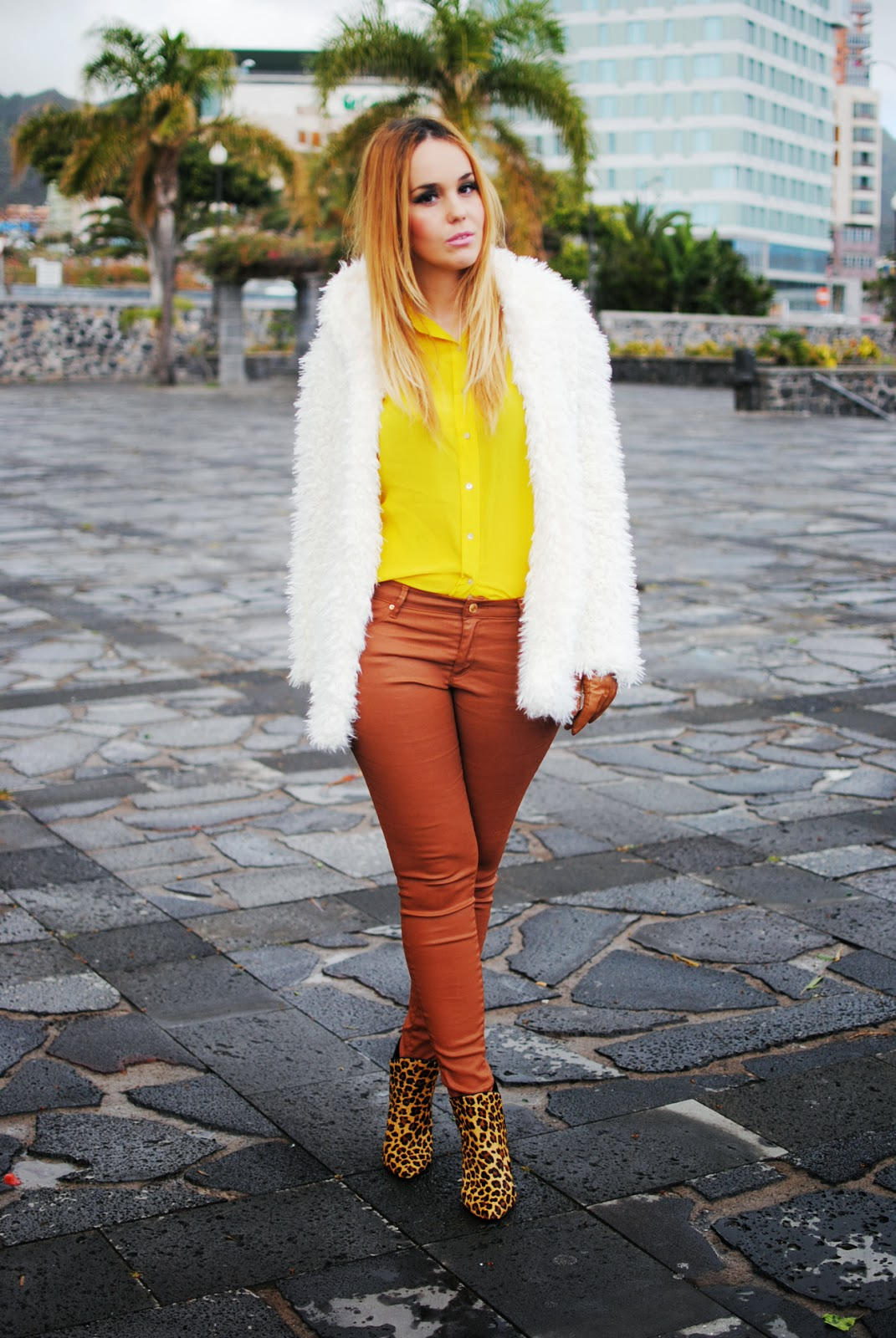 nery hdez, gloves, primark, rosewholesales, fur coat, teddy coat, yellow canary, blonde girl