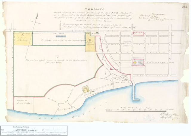 1850 Vavasour: Plan of the Garrison Reserve ['Sketch shewing the relative position of the Lots A & B...'