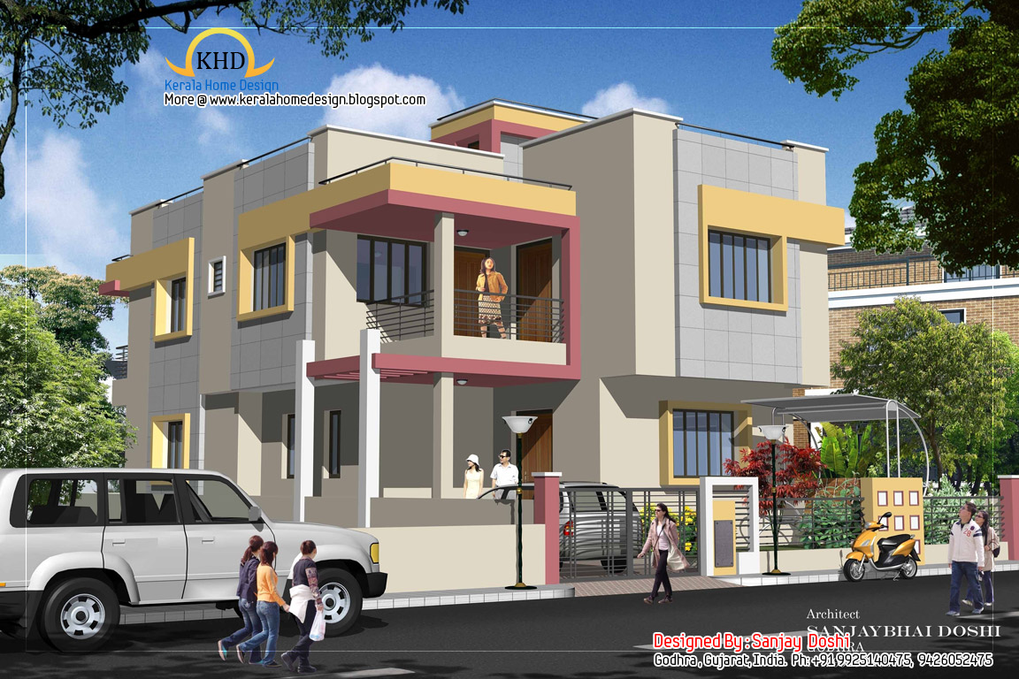Duplex house plan and elevation 2310 sq ft kerala for Duplex images india