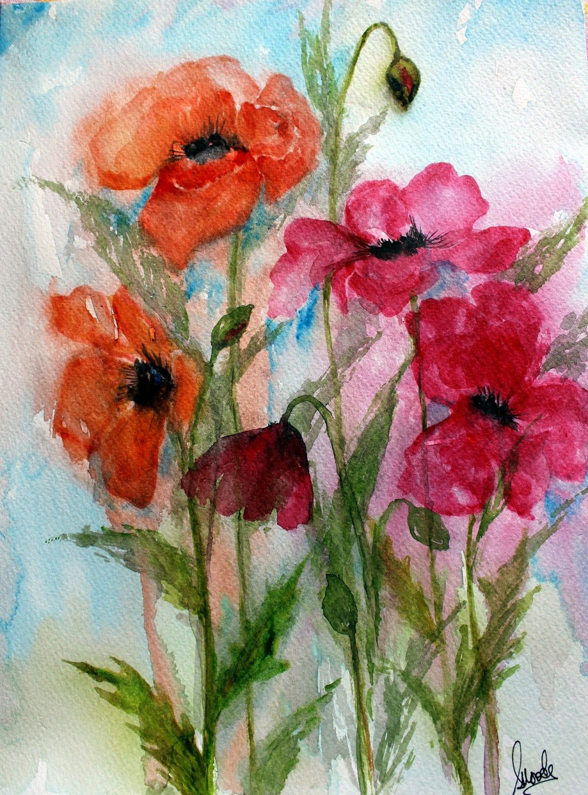 #poppy #flowers #blooms #poppies #painting #gardening #growing #mixed #two colours #watercolour