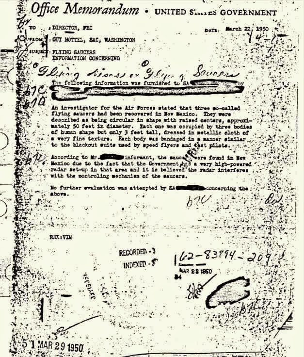 Memo send by Guy Hottel to the FBI Director