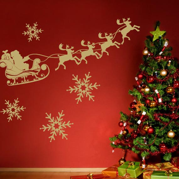 Christmas tree wall stickers luxury lifestyle design for Christmas wall mural