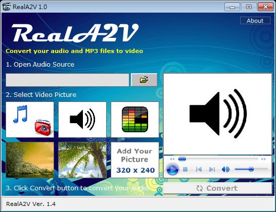 可將MP3、WAV、WMA轉AVI檔的轉檔軟體推薦:RealA2V,免費版下載