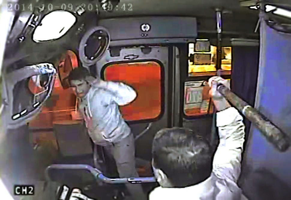 Watch Genius Driver Trap Snatcher on Bus Automatic Door