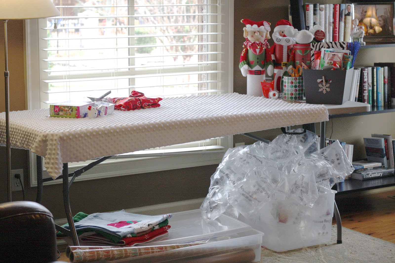 Organized Gift Wrap Station