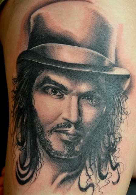 Russell Brand portrait by Pat Bennett at Icon Tattoo and Body Piercing in Murfreesboro, TN