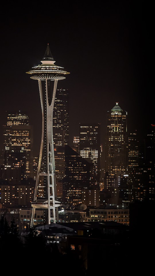 Seattle Space Needle Night City Skyline  Galaxy Note HD Wallpaper