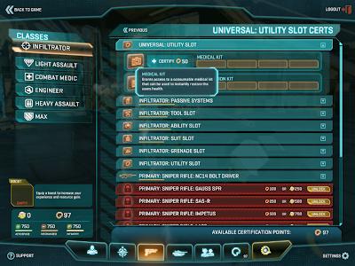 PlanetSide 2 - Infiltrator Unlocks