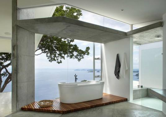 Tropical Bathroom With Ocean View