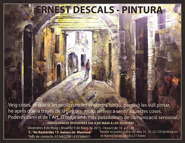 EXPOSICIO-PINTURA-MANRESA-CARTELL-PINTOR-ERNEST DESCALS-NOVA-VELLA SALA-BARRI ANTIC-