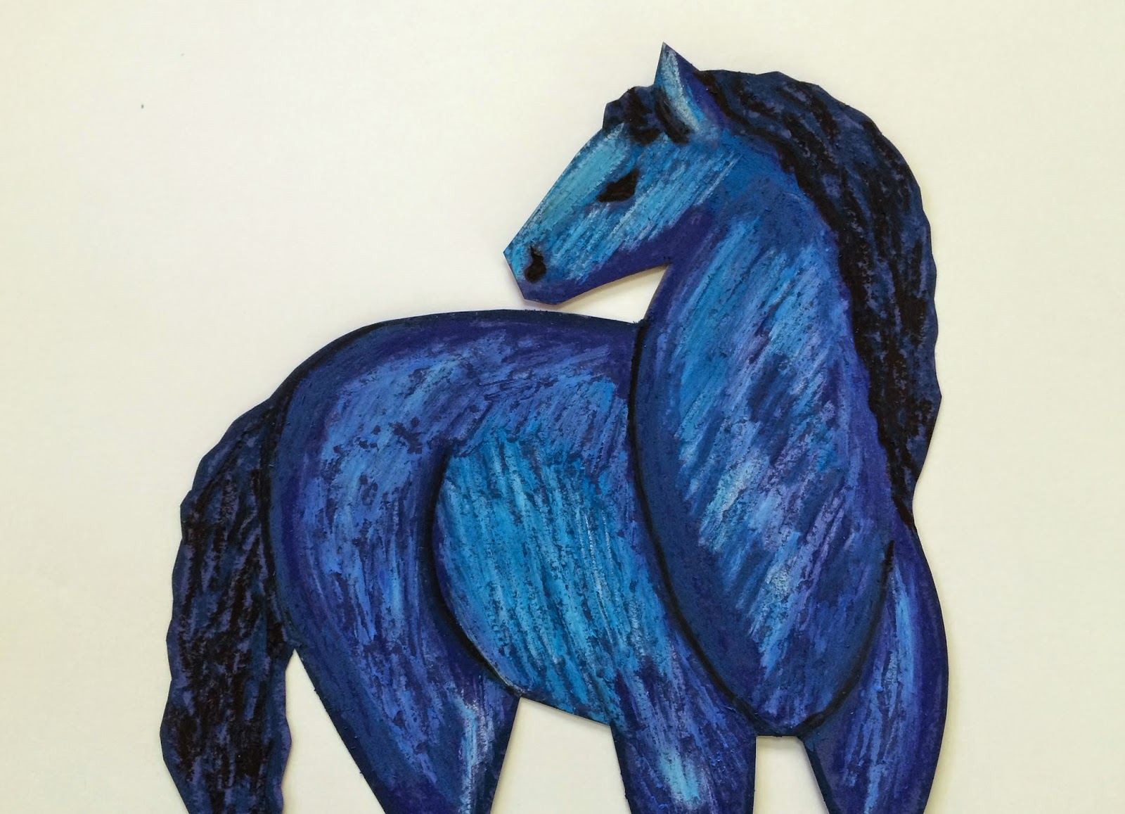 They'll Use An Assortment Of Blue, Black And White Oil Pastels To Create A  Rich Layering Of Color For Their Horse