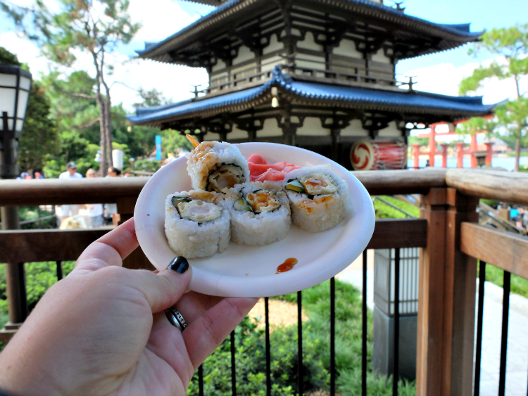 Walt Disney World's Epcot, Food & Wine Festival, Japan's tempura shrimp roll and teriyaki gyoza bun
