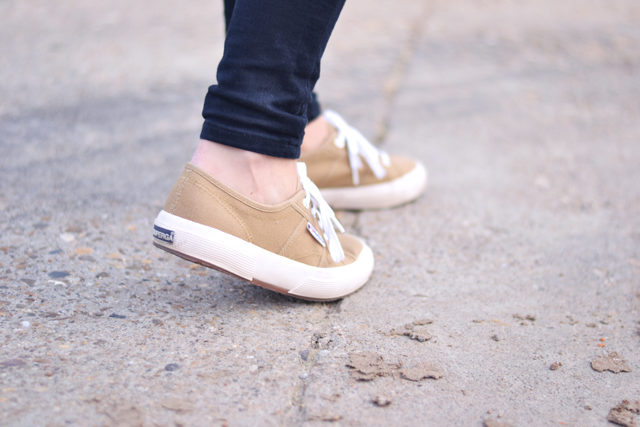 Superga sneakers, camel, ridley jeans, asos, outfit post