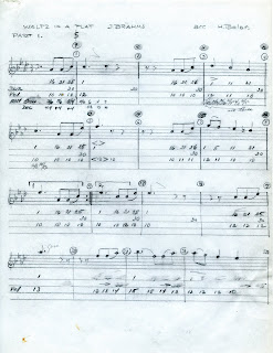 Score for the melody of Brahms Waltz in A Flat as arranged by Herbert Belar for playing on the synthesizer.
