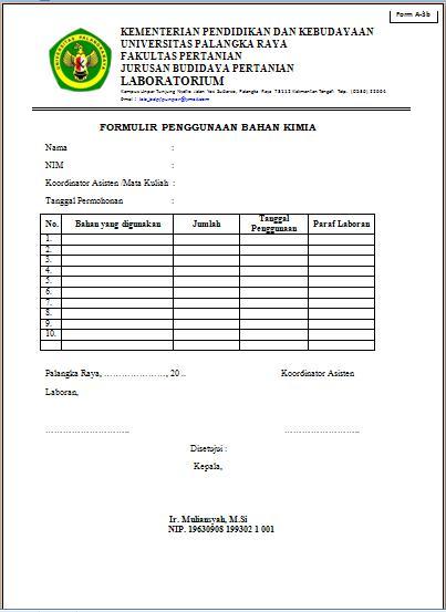 Jurusan Budidaya Pertanian Universitas Palangkaraya Formulir Penggunaan Bahan Kimia