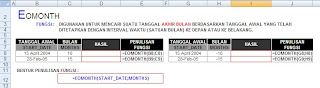 Microsoft Excel 2007, Fungsi Date and Time, Fungsi EOMONTH