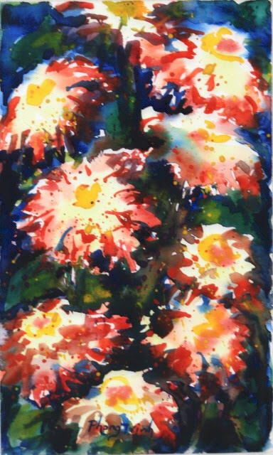 Sensation Fine Art Watercolor painting on Paper Zinnia Sonata series, Seven of Eight