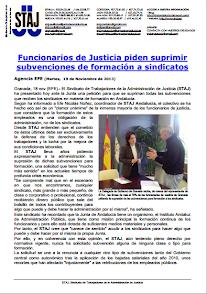 FUNCIONARIOS DE JUSTICIA DESEAN QUE SE SUPRIMAN LAS SUBVENCIONES DE FORMACIÓN A SINDICATOS