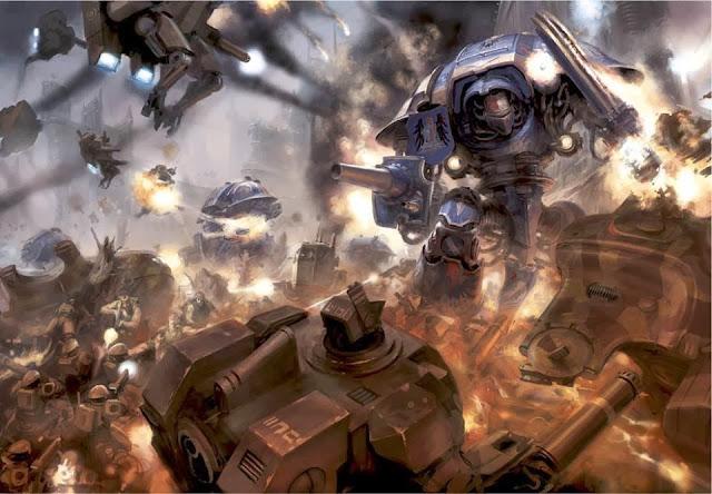 Caballeros Imperiales en combate contra los Tau