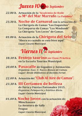 Camas - PROGRAMA DE FERIA  2015 - DÍAS 10 Y 11 DE SEPTIEMBRE