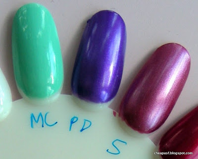 e.l.f. Essential Nail Polish swatches (left to right):  Mint Cream, Purple Dream, Sunset