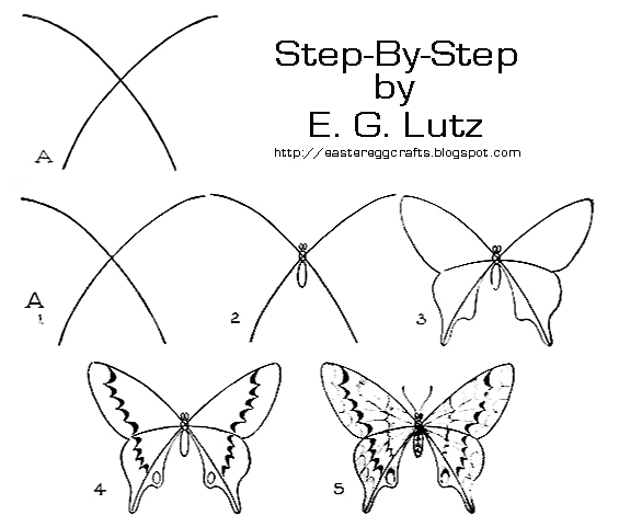 drawing butterflies by progressive steps easter egg crafts