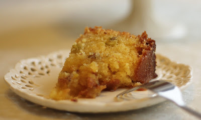 Slice of lemon and pistachio polenta cake (gluten free)