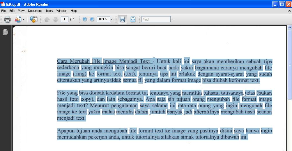 Cara Merubah File Image Menjadi Text