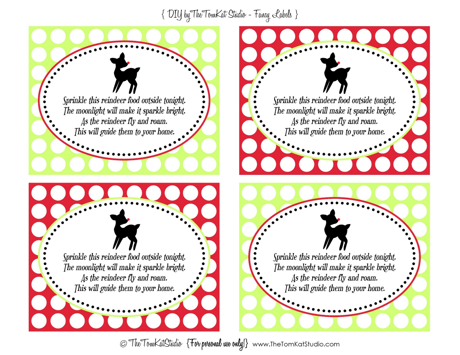 The TomKat Studio: {Free Printables} Reindeer Food Tags!
