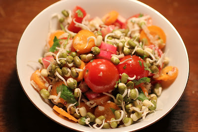 indian moog dal (mung bean) farm salad