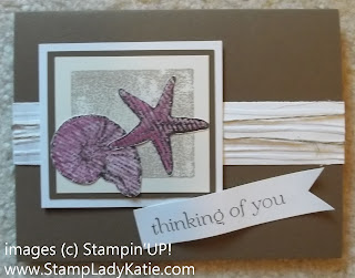 Card made with Stampin'UP stamp set called: By the Seashore, banner tail made with a square punch