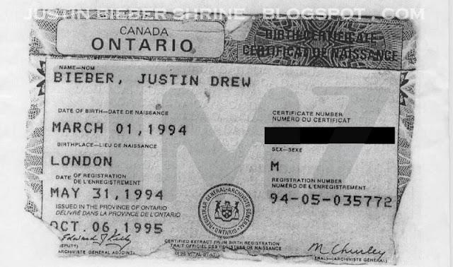 Justin Bieber\'s Official Birth Certificate - justin bieber selena