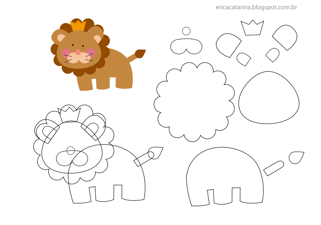 Jungle Animals Felt Template